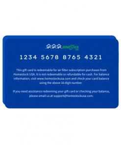 Homestock USA Back of Gift Card